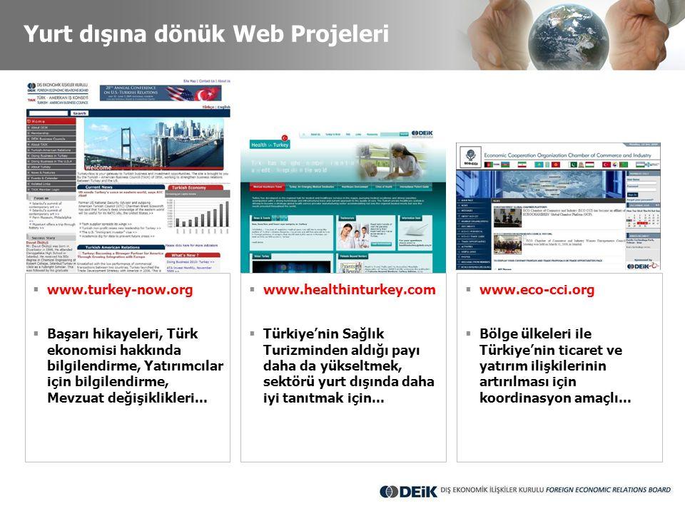 Yurt dışına dönük Web Projeleri  www.turkey-now.org  Başarı hikayeleri, Türk ekonomisi hakkında bilgilendirme, Yatırımcılar için bilgilendirme, Mevz