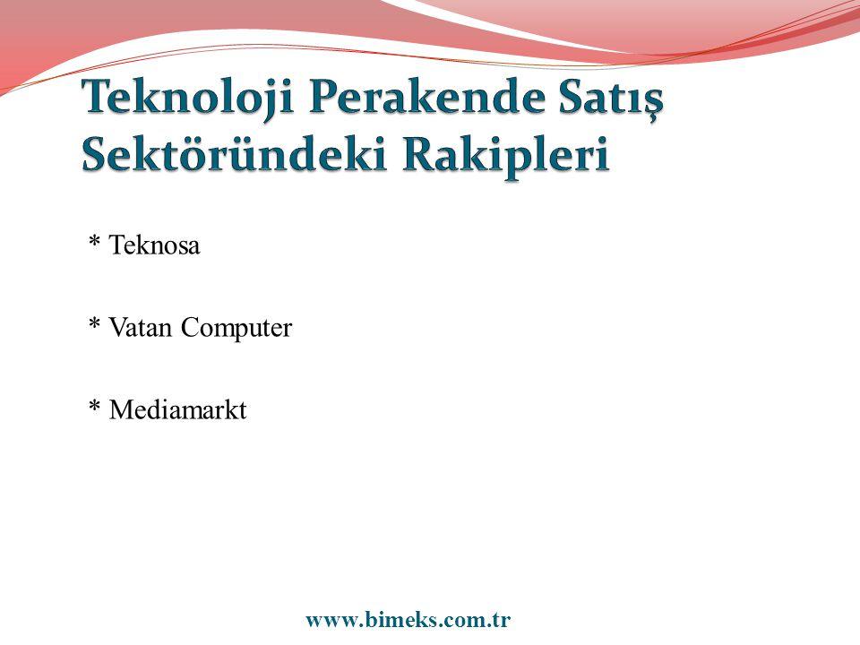 * Teknosa * Vatan Computer * Mediamarkt www.bimeks.com.tr