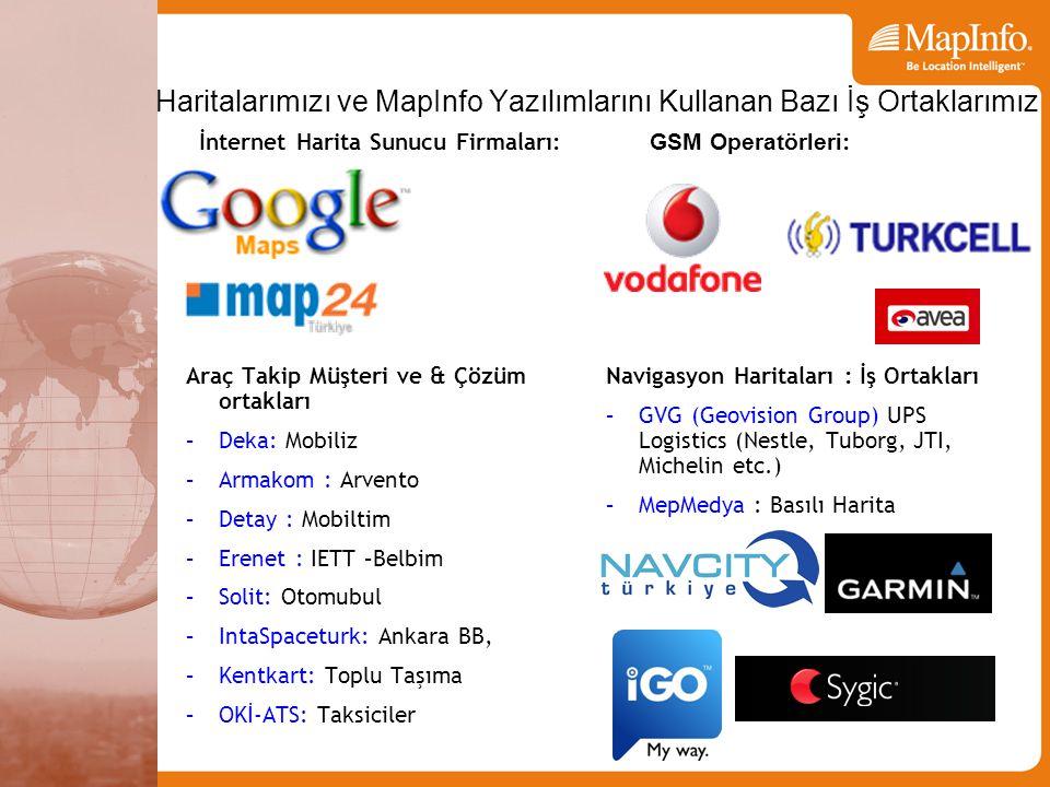 Haritalarımızı ve MapInfo Yazılımlarını Kullanan Bazı İş Ortaklarımız Araç Takip Müşteri ve & Çözüm ortakları –Deka: Mobiliz –Armakom : Arvento –Detay