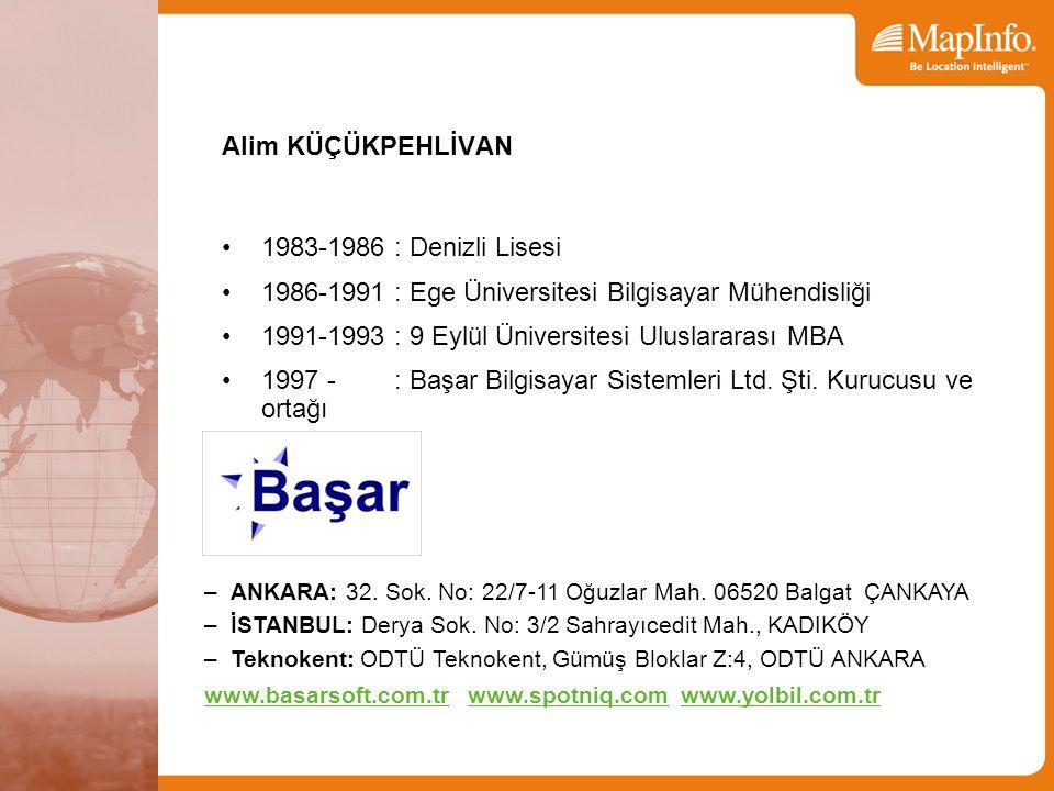 Alim KÜÇÜKPEHLİVAN 1983-1986 : Denizli Lisesi 1986-1991 : Ege Üniversitesi Bilgisayar Mühendisliği 1991-1993 : 9 Eylül Üniversitesi Uluslararası MBA 1