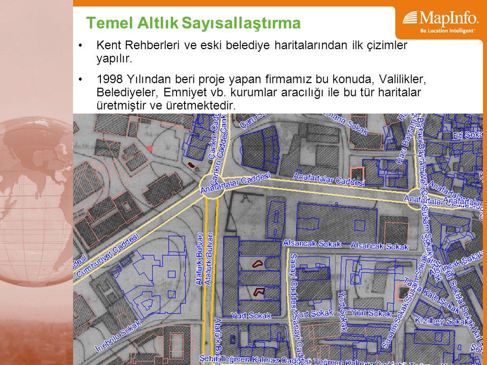 Temel Altlık Sayısallaştırma Kent Rehberleri ve eski belediye haritalarından ilk çizimler yapılır. 1998 Yılından beri proje yapan firmamız bu konuda,
