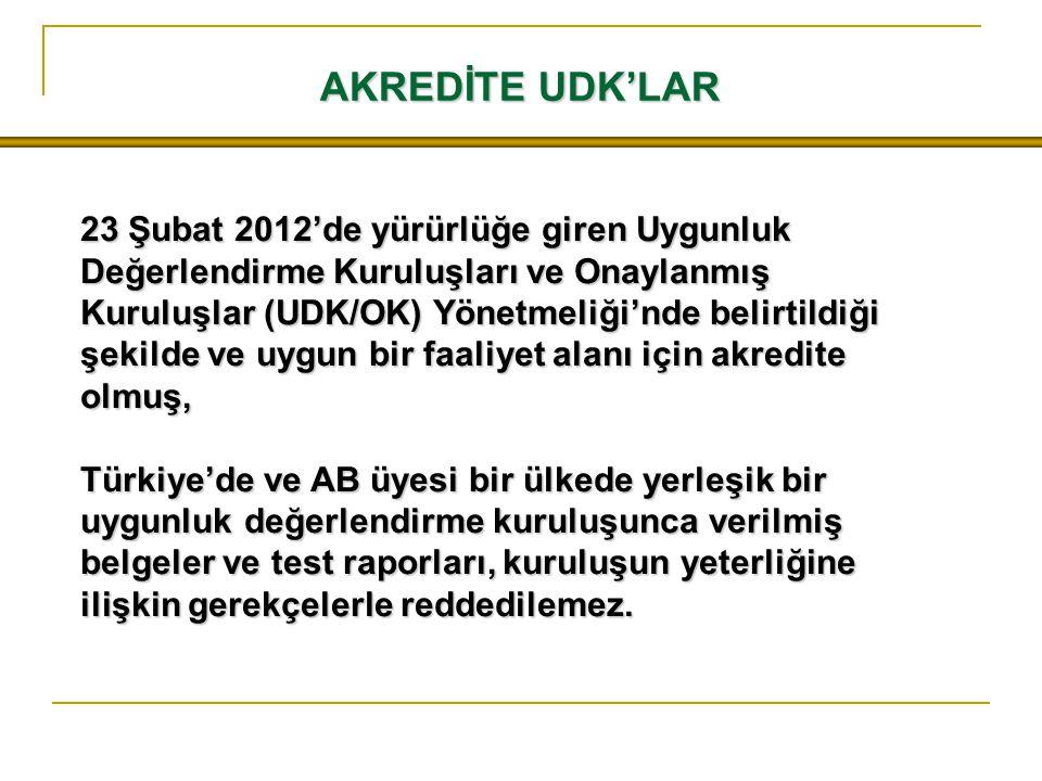 AKREDİTE UDK'LAR 23 Şubat 2012'de yürürlüğe giren Uygunluk Değerlendirme Kuruluşları ve Onaylanmış Kuruluşlar (UDK/OK) Yönetmeliği'nde belirtildiği şe