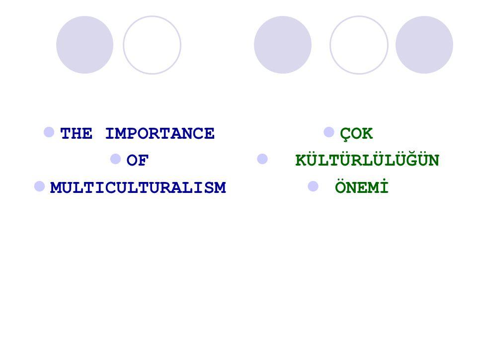 THE IMPORTANCE OF MULTICULTURALISM ÇOK KÜLTÜRLÜLÜĞÜN ÖNEMİ