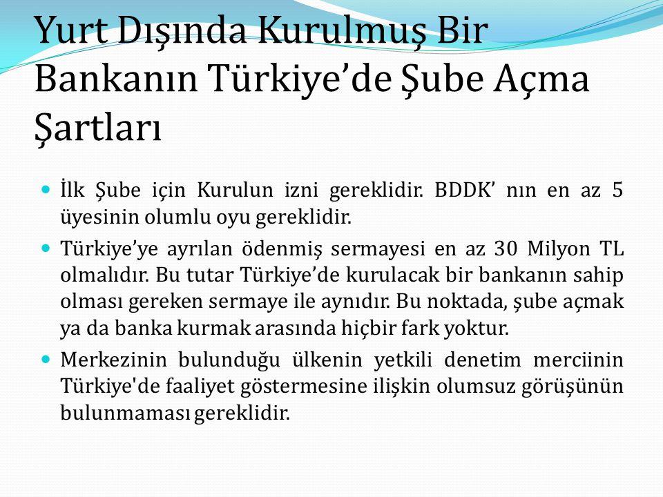Yurt Dışında Kurulmuş Bir Bankanın Türkiye'de Şube Açma Şartları İlk Şube için Kurulun izni gereklidir. BDDK' nın en az 5 üyesinin olumlu oyu gereklid