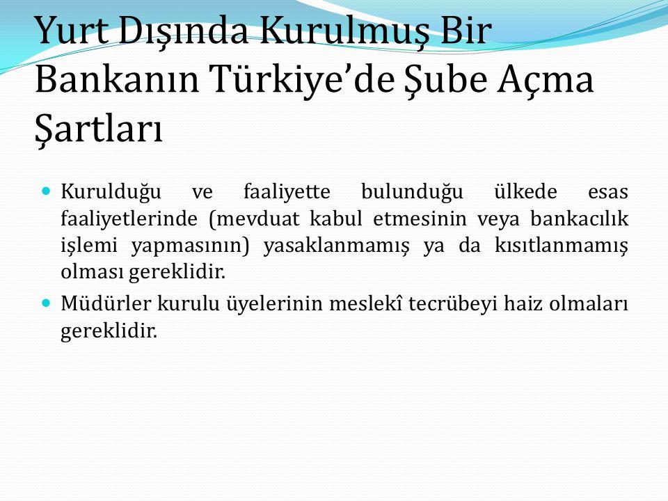 Yurt Dışında Kurulmuş Bir Bankanın Türkiye'de Şube Açma Şartları Kurulduğu ve faaliyette bulunduğu ülkede esas faaliyetlerinde (mevduat kabul etmesini