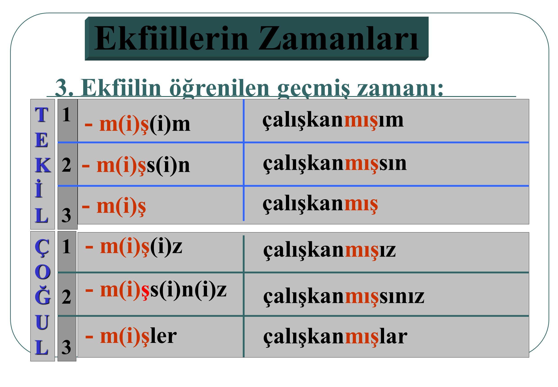 123123 123123 2. Ekfiilin görülen geçmiş zamanı: TEKİL ÇOĞUL - d(i)m - d(i)n - d(i)k - d(i)n(i)z - d(i)ler - d(i) çalışkandı m çalışkandı n çalışkandı