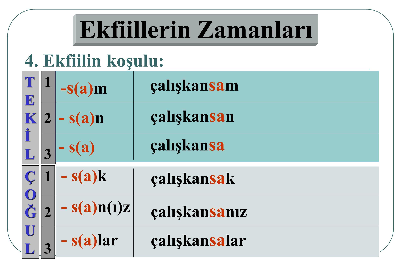 123123 123123 3. Ekfiilin öğrenilen geçmiş zamanı: TEKİL ÇOĞUL - m(i)ş(i)m - m(i)şs(i)n - m(i)ş(i)z - m(i)şs(i)n(i)z - m(i)şler - m(i)ş çalışkanmışım