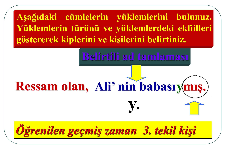 Aşağıdaki cümlelerin yüklemlerini bulunuz. Yüklemlerin türünü ve yüklemlerdeki ekfiilleri göstererek kiplerini ve kişilerini belirtiniz. Ressam olan,