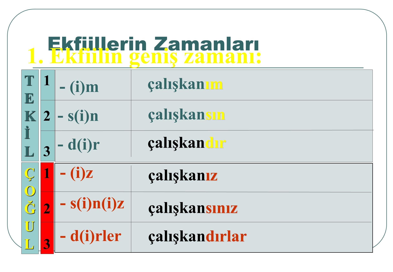Ekfiililer ad soylu sözcükleri ve tamlamaları dört zamana bağlı olarak yüklem görevinde kullandırır.