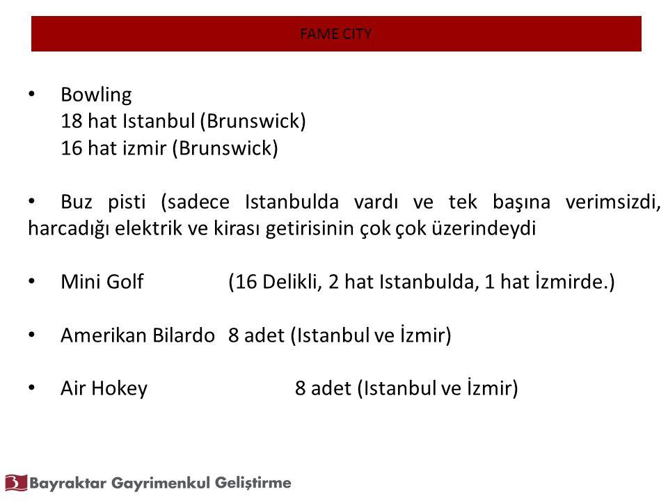FAME CITY Bowling 18 hat Istanbul (Brunswick) 16 hat izmir (Brunswick) Buz pisti (sadece Istanbulda vardı ve tek başına verimsizdi, harcadığı elektrik