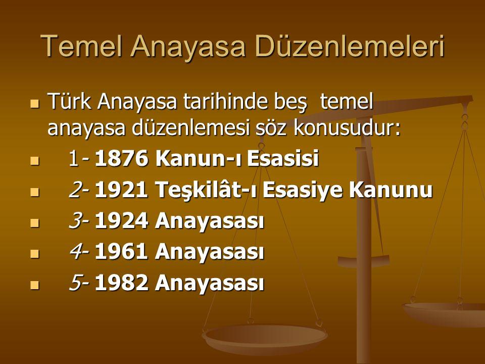 Temel Anayasa Düzenlemeleri Türk Anayasa tarihinde beş temel anayasa düzenlemesi söz konusudur: Türk Anayasa tarihinde beş temel anayasa düzenlemesi s