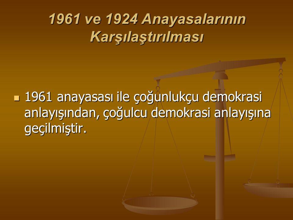 1961 ve 1924 Anayasalarının Karşılaştırılması 1961 anayasası ile çoğunlukçu demokrasi anlayışından, çoğulcu demokrasi anlayışına geçilmiştir. 1961 ana