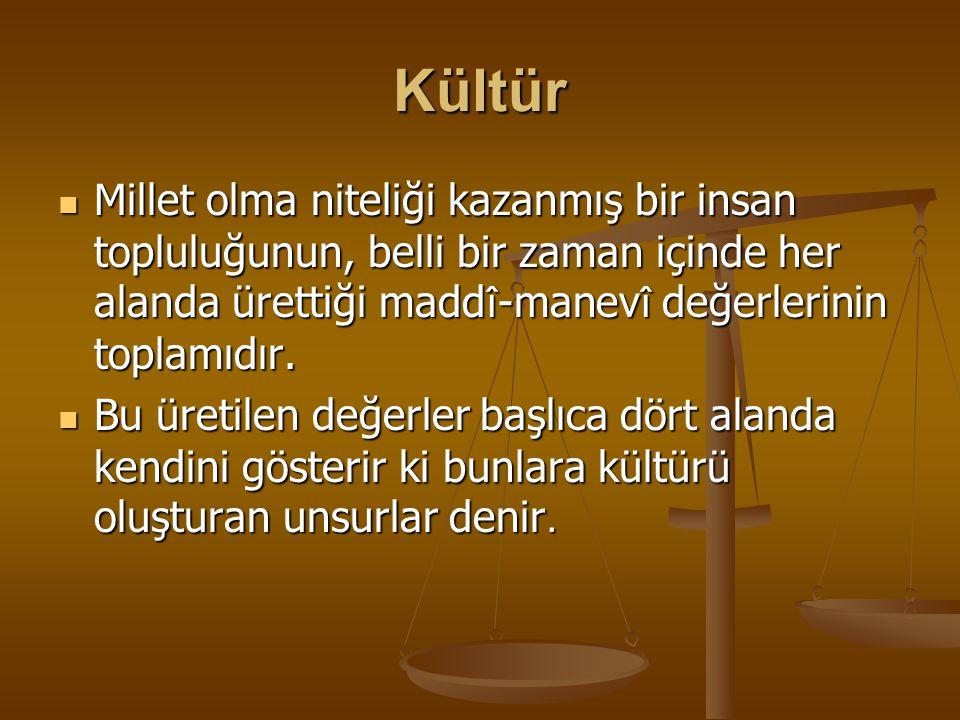 Atatürk'e göre Kültür ve Unsurları Atatürk'e göre kültür ise; Bir insan topluluğunun devlet hayatında, fikir hayatında yani ilimde… güzel sanatlarda, iktisad î hayatta yapabildiği şeylerin muhassalasıdır(toplamıdır).
