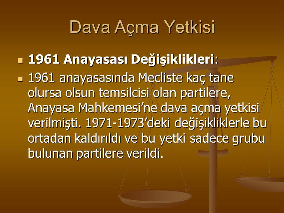 Dava Açma Yetkisi 1961 Anayasası Değişiklikleri: 1961 Anayasası Değişiklikleri: 1961 anayasasında Mecliste kaç tane olursa olsun temsilcisi olan parti