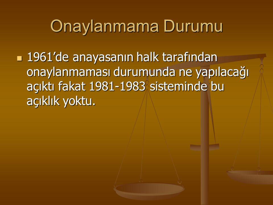 Onaylanmama Durumu 1961'de anayasanın halk tarafından onaylanmaması durumunda ne yapılacağı açıktı fakat 1981-1983 sisteminde bu açıklık yoktu. 1961'd