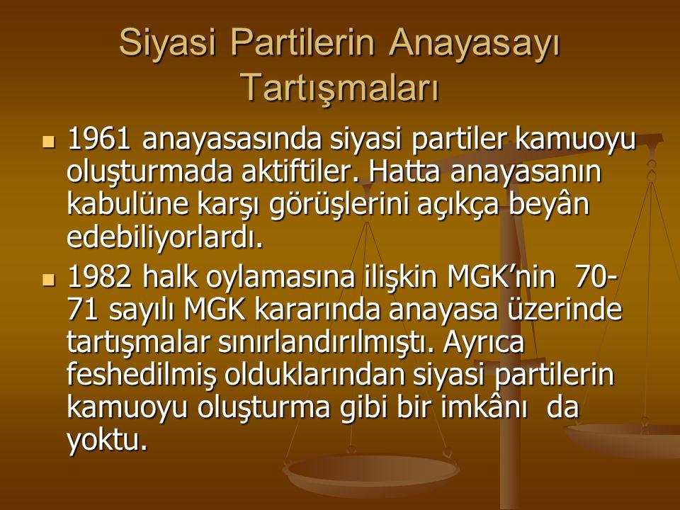 Siyasi Partilerin Anayasayı Tartışmaları 1961 anayasasında siyasi partiler kamuoyu oluşturmada aktiftiler. Hatta anayasanın kabulüne karşı görüşlerini