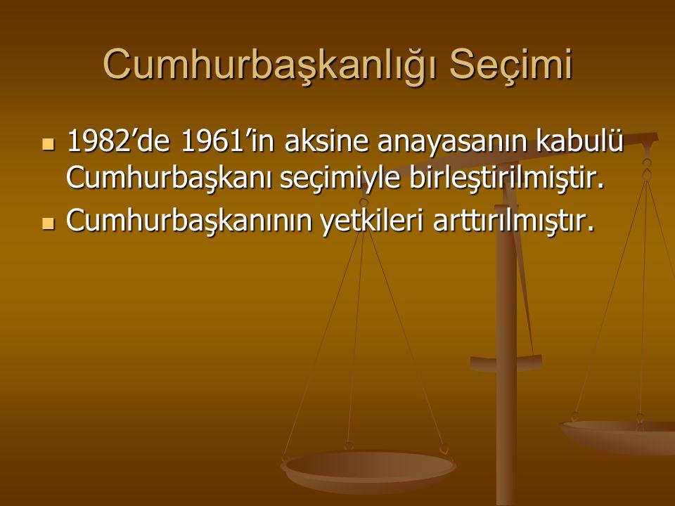 Cumhurbaşkanlığı Seçimi 1982'de 1961'in aksine anayasanın kabulü Cumhurbaşkanı seçimiyle birleştirilmiştir. 1982'de 1961'in aksine anayasanın kabulü C