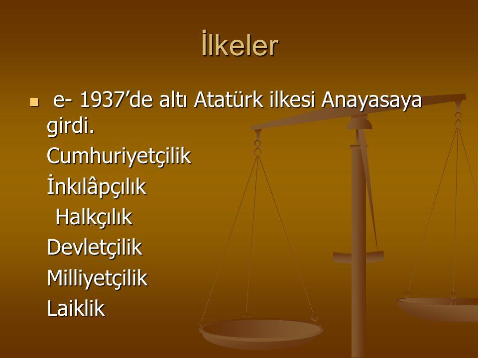 İlkeler e- 1937'de altı Atatürk ilkesi Anayasaya girdi. e- 1937'de altı Atatürk ilkesi Anayasaya girdi. Cumhuriyetçilik Cumhuriyetçilikİnkılâpçılık Ha