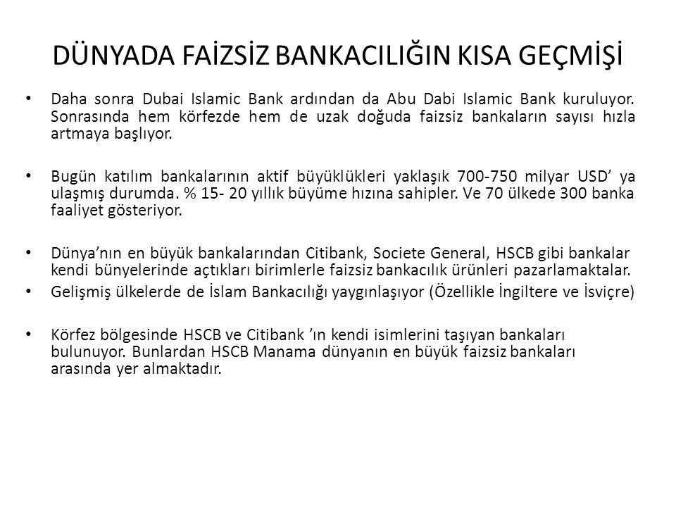 DÜNYADA FAİZSİZ BANKACILIĞIN KISA GEÇMİŞİ Daha sonra Dubai Islamic Bank ardından da Abu Dabi Islamic Bank kuruluyor. Sonrasında hem körfezde hem de uz