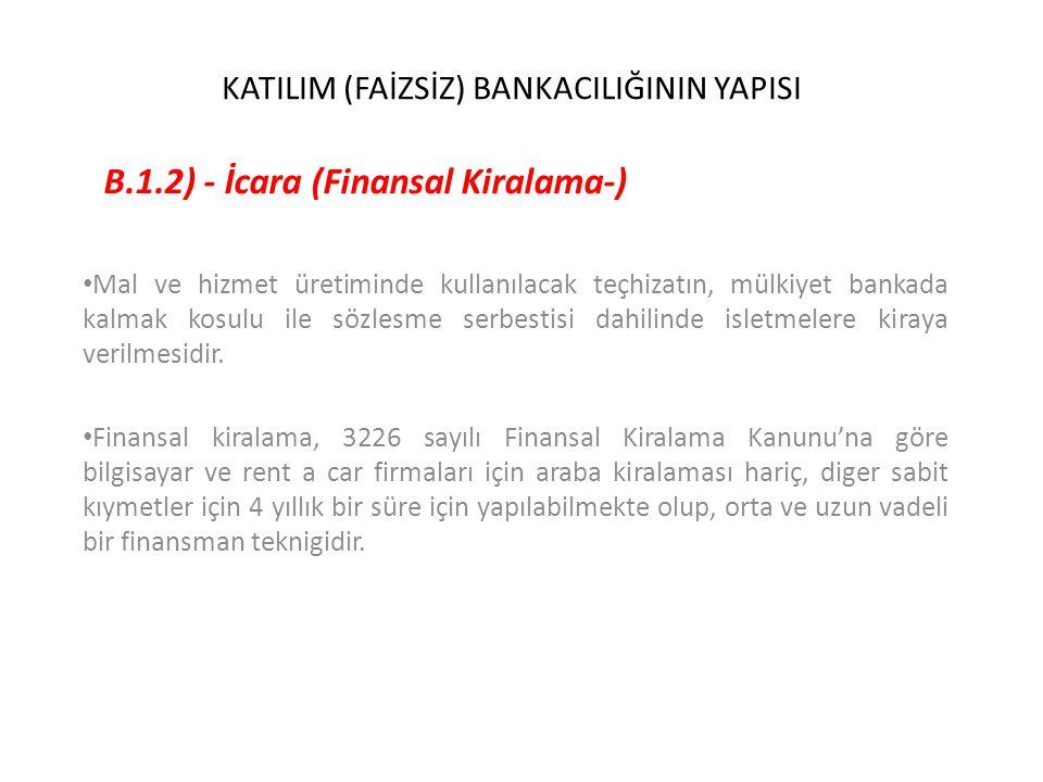 KATILIM (FAİZSİZ) BANKACILIĞININ YAPISI B.1.2) - İcara (Finansal Kiralama-) Mal ve hizmet üretiminde kullanılacak teçhizatın, mülkiyet bankada kalmak