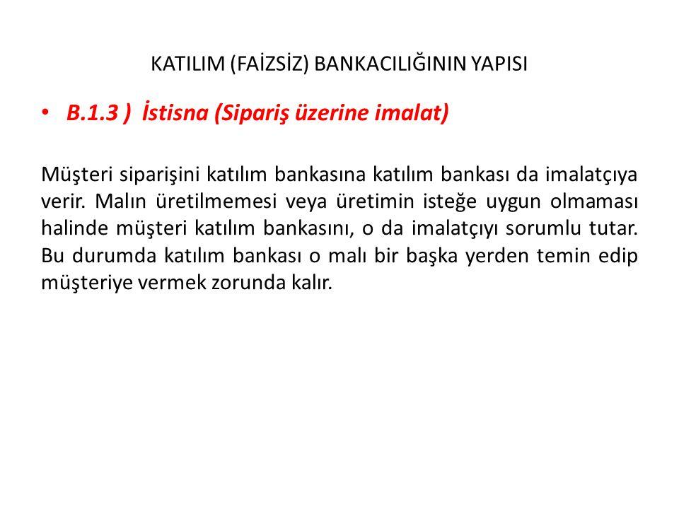 KATILIM (FAİZSİZ) BANKACILIĞININ YAPISI B.1.3 ) İstisna (Sipariş üzerine imalat) Müşteri siparişini katılım bankasına katılım bankası da imalatçıya ve
