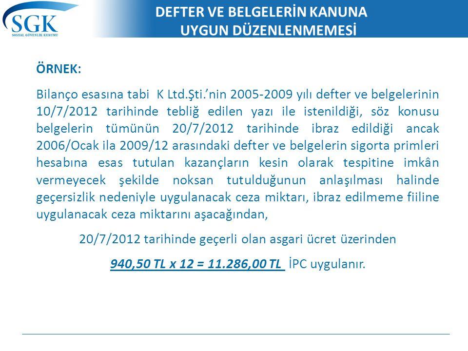DEFTER VE BELGELERİN KANUNA UYGUN DÜZENLENMEMESİ ÖRNEK: Bilanço esasına tabi K Ltd.Şti.'nin 2005-2009 yılı defter ve belgelerinin 10/7/2012 tarihinde