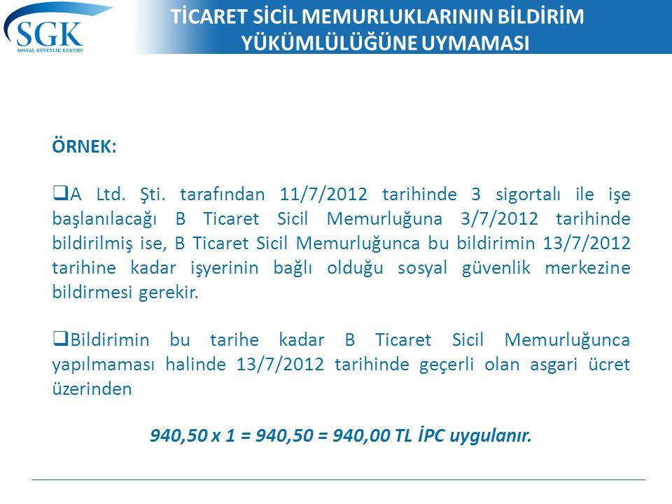TİCARET SİCİL MEMURLUKLARININ BİLDİRİM YÜKÜMLÜLÜĞÜNE UYMAMASI ÖRNEK:  A Ltd. Şti. tarafından 11/7/2012 tarihinde 3 sigortalı ile işe başlanılacağı B