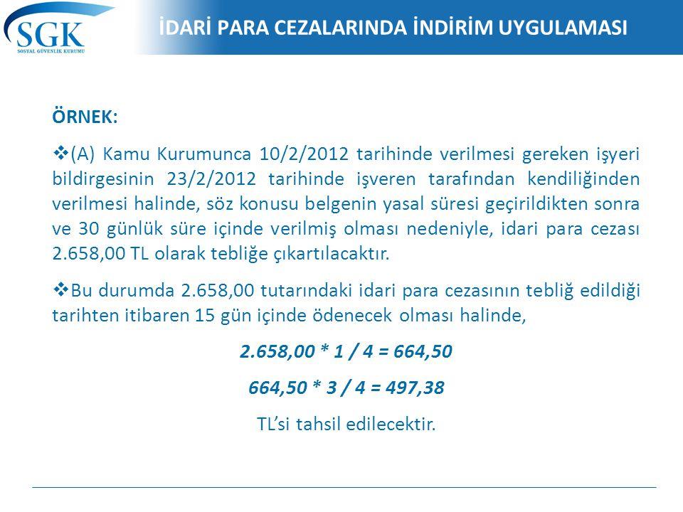 İDARİ PARA CEZALARINDA İNDİRİM UYGULAMASI ÖRNEK:  (A) Kamu Kurumunca 10/2/2012 tarihinde verilmesi gereken işyeri bildirgesinin 23/2/2012 tarihinde i