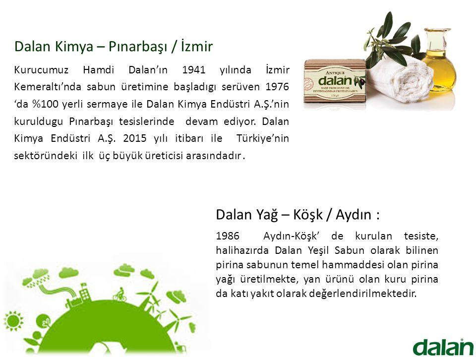 Dalan Kimya – Pınarbaşı / İzmir Kurucumuz Hamdi Dalan'ın 1941 yılında İzmir Kemeraltı'nda sabun üretimine başladıgı serüven 1976 'da %100 yerli sermaye ile Dalan Kimya Endüstri A.Ş.'nin kuruldugu Pınarbaşı tesislerinde devam ediyor.