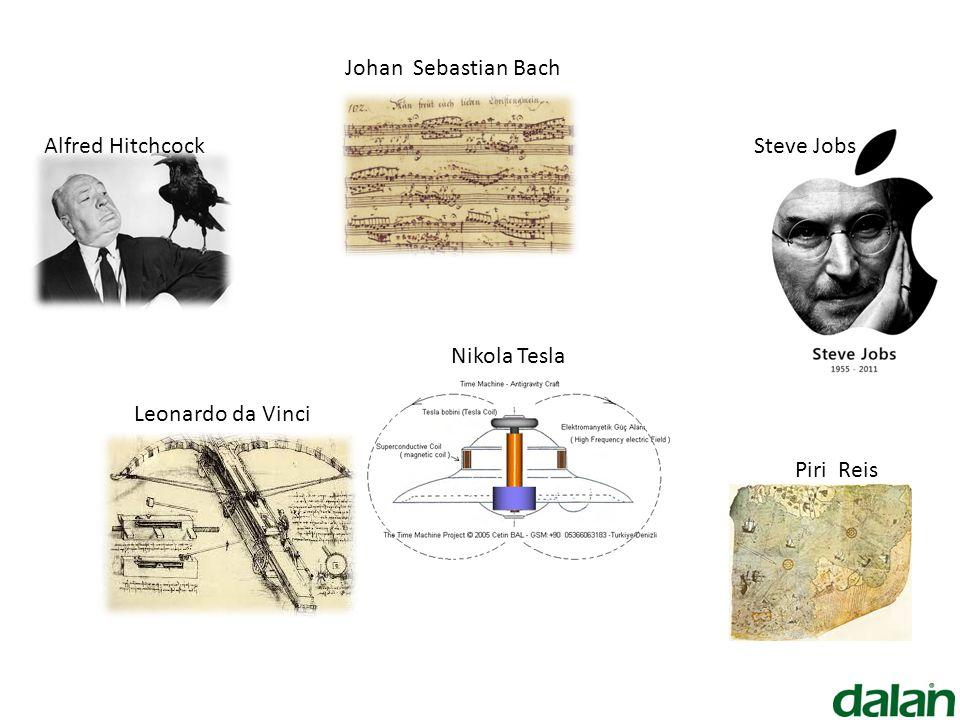 Nikola Tesla Johan Sebastian Bach Alfred Hitchcock Piri Reis Leonardo da Vinci Steve Jobs