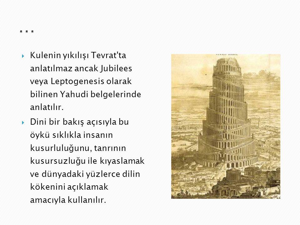  Tanah ve Eski Ahit hemen hemen aynı olduğu için her iki dinde Babil bahsi aynıdır. Babil kulesinden Tevrat'ın Yaratılış (Tekvin) kısmında bahsedilir