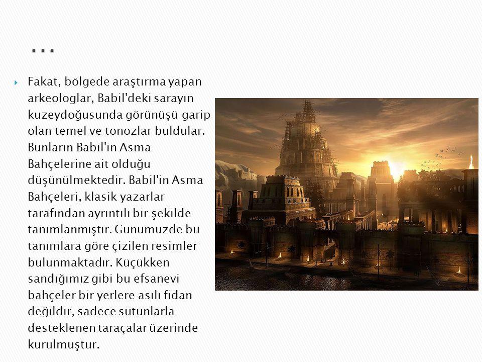  Söylentiye göre Nebukadnezar bu yapıyı sıla hasreti çeken karısı Semiramis için yaptırmıştır. Semiramis Medes kralının kızıdır. Söylentiye göre Mezo