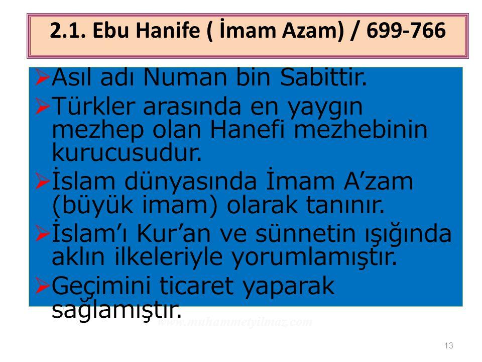 13  Asıl adı Numan bin Sabittir.  Türkler arasında en yaygın mezhep olan Hanefi mezhebinin kurucusudur.  İslam dünyasında İmam A'zam (büyük imam) o