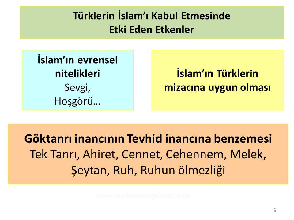 9 Türklerin İslam'ı Kabul Etmesinde Etki Eden Etkenler İslam'ın evrensel nitelikleri Sevgi, Hoşgörü… İslam'ın Türklerin mizacına uygun olması Göktanrı