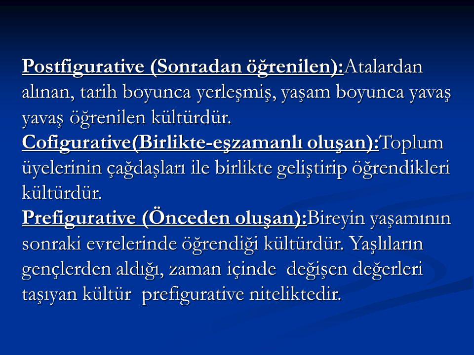 Postfigurative (Sonradan öğrenilen):Atalardan alınan, tarih boyunca yerleşmiş, yaşam boyunca yavaş yavaş öğrenilen kültürdür. Cofigurative(Birlikte-eş