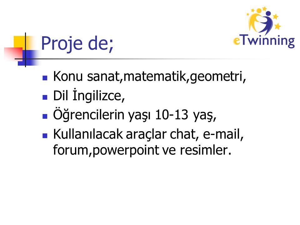 Proje de; Konu sanat,matematik,geometri, Dil İngilizce, Öğrencilerin yaşı 10-13 yaş, Kullanılacak araçlar chat, e-mail, forum,powerpoint ve resimler.
