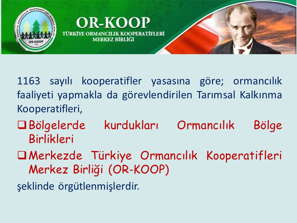 1163 sayılı kooperatifler yasasına göre; ormancılık faaliyeti yapmakla da görevlendirilen Tarımsal Kalkınma Kooperatifleri,  Bölgelerde kurdukları Ormancılık Bölge Birlikleri  Merkezde Türkiye Ormancılık Kooperatifleri Merkez Birliği (OR-KOOP) şeklinde örgütlenmişlerdir.