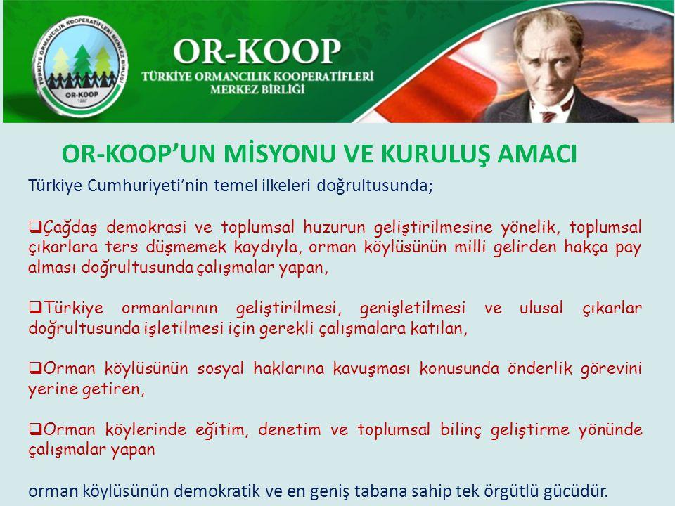 Türkiye Cumhuriyeti'nin temel ilkeleri doğrultusunda;  Çağdaş demokrasi ve toplumsal huzurun geliştirilmesine yönelik, toplumsal çıkarlara ters düşmemek kaydıyla, orman köylüsünün milli gelirden hakça pay alması doğrultusunda çalışmalar yapan,  Türkiye ormanlarının geliştirilmesi, genişletilmesi ve ulusal çıkarlar doğrultusunda işletilmesi için gerekli çalışmalara katılan,  Orman köylüsünün sosyal haklarına kavuşması konusunda önderlik görevini yerine getiren,  Orman köylerinde eğitim, denetim ve toplumsal bilinç geliştirme yönünde çalışmalar yapan orman köylüsünün demokratik ve en geniş tabana sahip tek örgütlü gücüdür.
