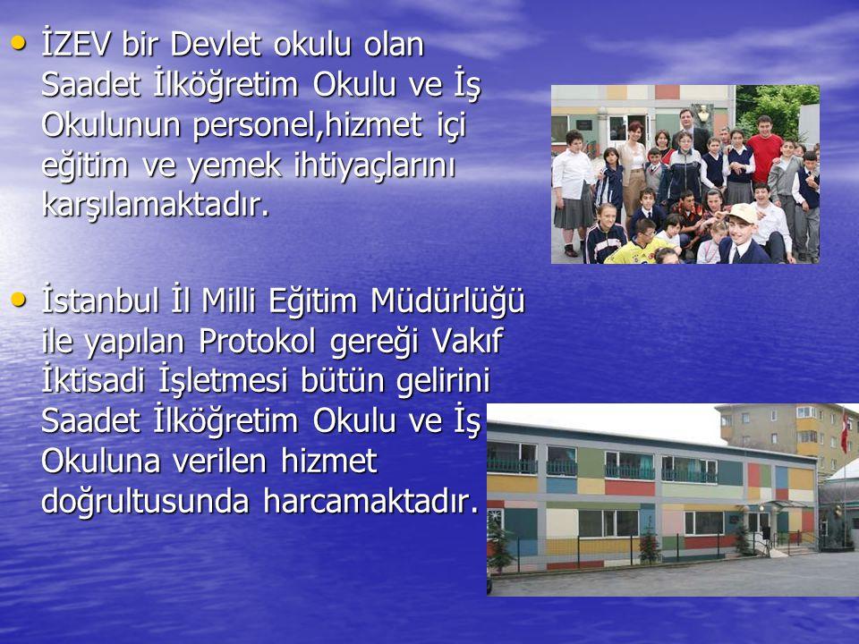 İZEV bir Devlet okulu olan Saadet İlköğretim Okulu ve İş Okulunun personel,hizmet içi eğitim ve yemek ihtiyaçlarını karşılamaktadır. İZEV bir Devlet o