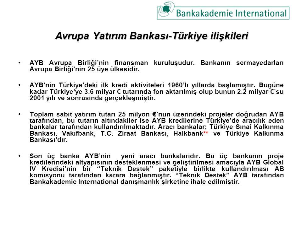 Avrupa Yatırım Bankası-Türkiye ilişkileri AYB Avrupa Birliği'nin finansman kuruluşudur. Bankanın sermayedarları Avrupa Birliği'nin 25 üye ülkesidir. A