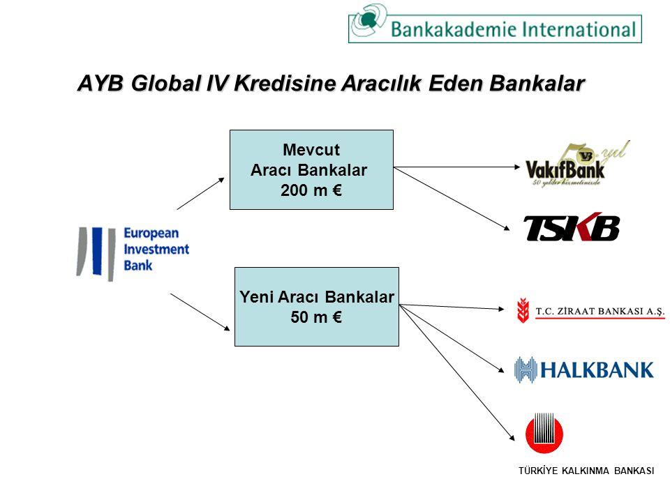AYB Global IV Kredisine Aracılık Eden Bankalar Mevcut Aracı Bankalar 200 m € Yeni Aracı Bankalar 50 m € TÜRKİYE KALKINMA BANKASI
