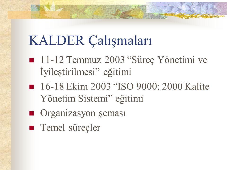 """KALDER Çalışmaları 11-12 Temmuz 2003 """"Süreç Yönetimi ve İyileştirilmesi"""" eğitimi 16-18 Ekim 2003 """"ISO 9000: 2000 Kalite Yönetim Sistemi"""" eğitimi Organ"""
