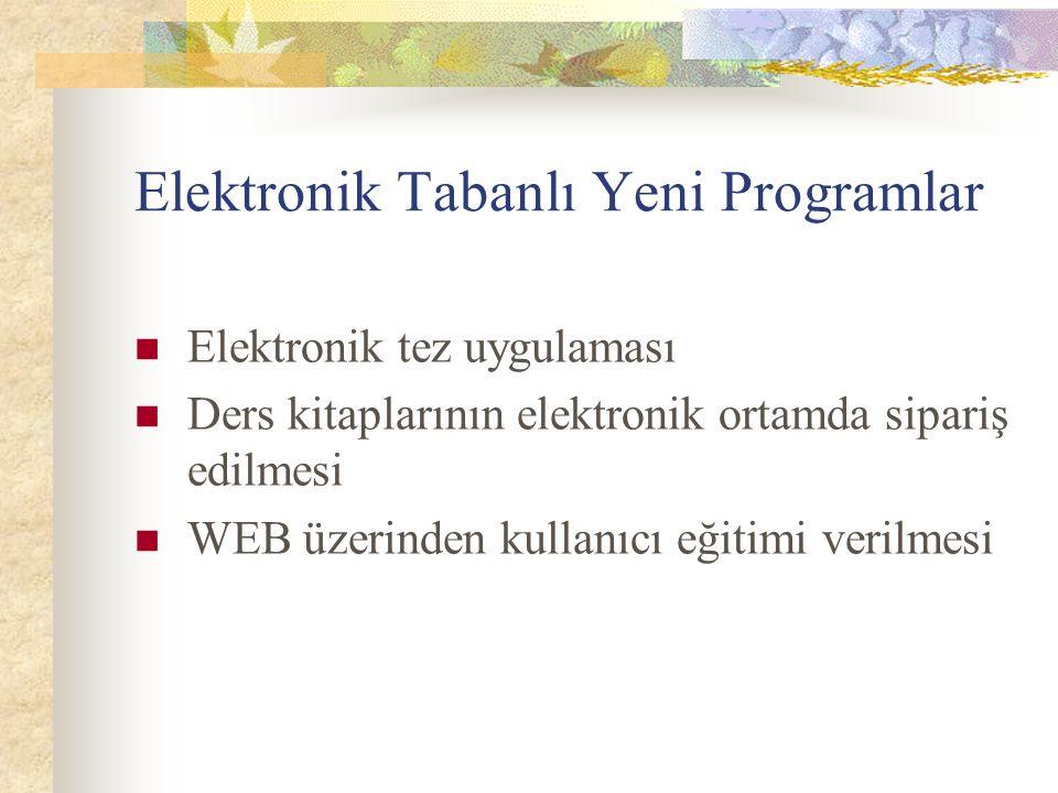 Elektronik Tabanlı Yeni Programlar Elektronik tez uygulaması Ders kitaplarının elektronik ortamda sipariş edilmesi WEB üzerinden kullanıcı eğitimi ver