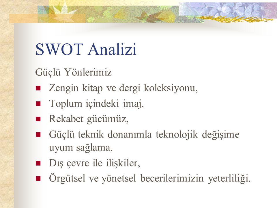 SWOT Analizi Güçlü Yönlerimiz Zengin kitap ve dergi koleksiyonu, Toplum içindeki imaj, Rekabet gücümüz, Güçlü teknik donanımla teknolojik değişime uyu