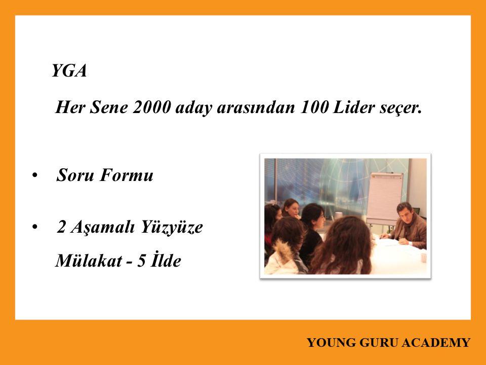 YGA Her Sene 2000 aday arasından 100 Lider seçer. Soru Formu 2 Aşamalı Yüzyüze Mülakat - 5 İlde