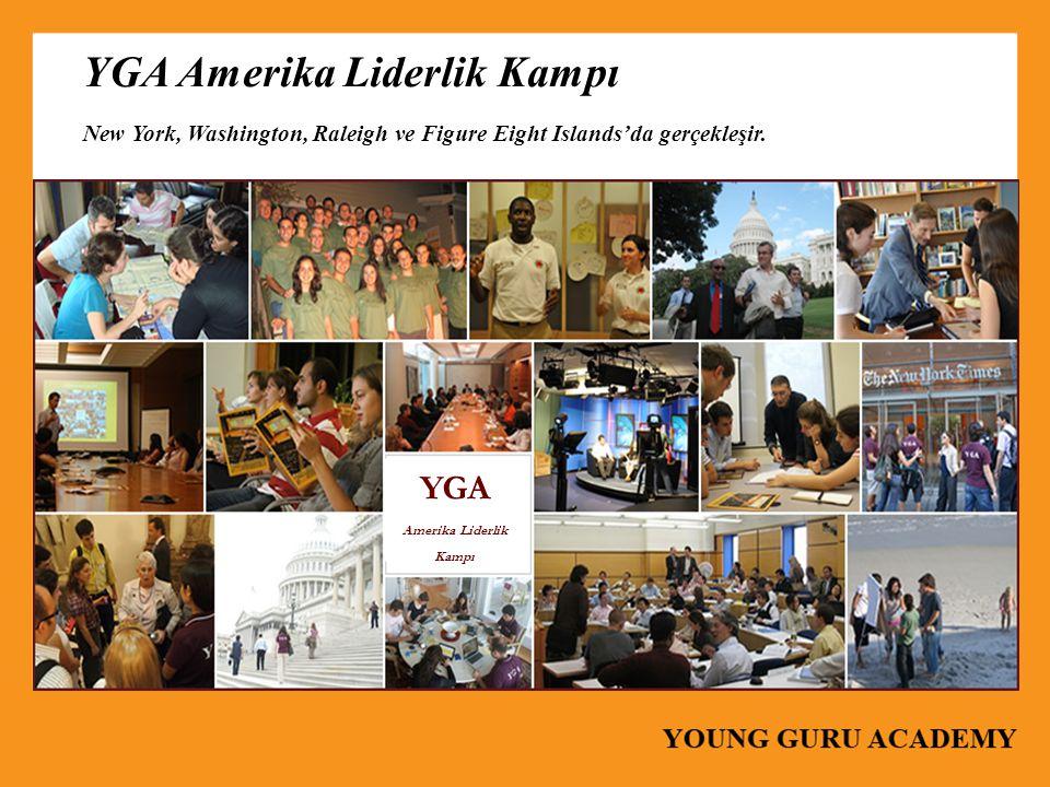 YGA Amerika Liderlik Kampı New York, Washington, Raleigh ve Figure Eight Islands'da gerçekleşir. YGA Amerika Liderlik Kampı