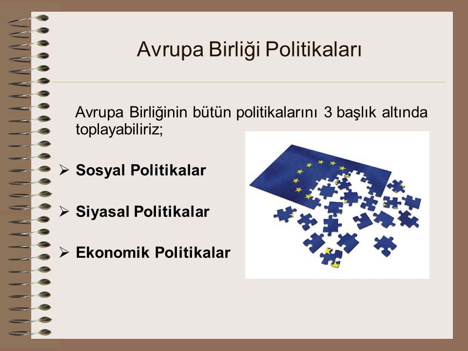 Avrupa Birliği Politikaları Avrupa Birliğinin bütün politikalarını 3 başlık altında toplayabiliriz;  Sosyal Politikalar  Siyasal Politikalar  Ekono