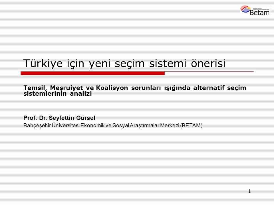 1 Türkiye için yeni seçim sistemi önerisi Temsil, Meşruiyet ve Koalisyon sorunları ışığında alternatif seçim sistemlerinin analizi Prof. Dr. Seyfettin