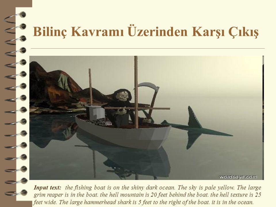 Bilinç Kavramı Üzerinden Karşı Çıkış Input text: the fishing boat is on the shiny dark ocean.