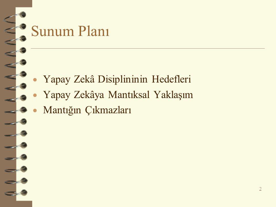 Sunum Planı  Yapay Zekâ Disiplininin Hedefleri  Yapay Zekâya Mantıksal Yaklaşım  Mantığın Çıkmazları 2